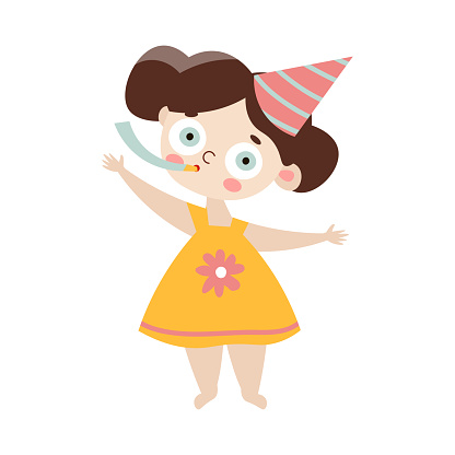 Cute happy brown-haired girl in birthday cap with party whistle. Vector illustration in flat cartoon style.