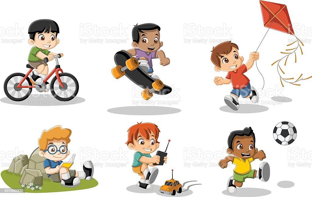 Linda feliz de desenhos animados de garotos jogando - ilustração de arte em vetor