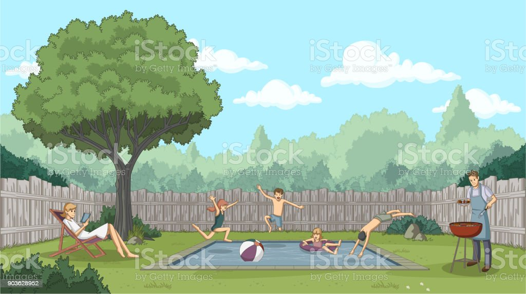 Cute happy cartoon children jumping into a swimming pool vector art illustration