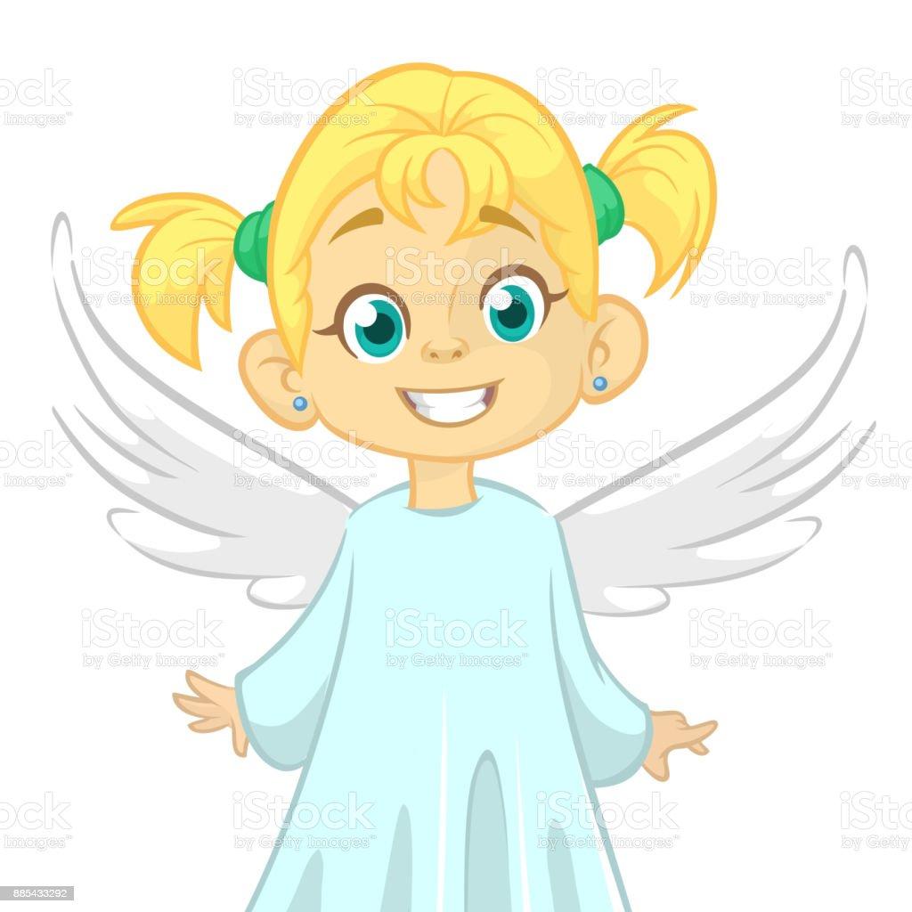 Feliz de dibujos animados lindo chica angel carácter alas blancas vuela. Ilustración de dibujos animados vector aislado - ilustración de arte vectorial