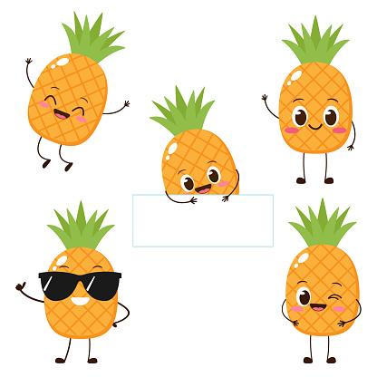 Cute happy cartoon pineapple character
