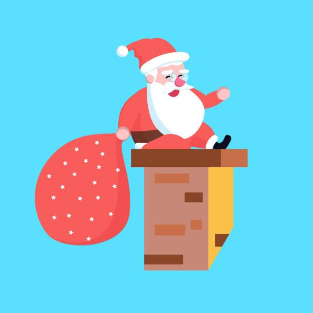 cute happy cartoon weihnachtsmann sitzt auf schornstein oder rauch - kaminverkleidungen stock-grafiken, -clipart, -cartoons und -symbole