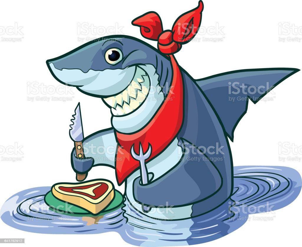 Cute Happy Cartoon Shark with Steak and Eating Utensils - Illustration vectorielle
