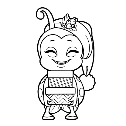 Cute happy cartoon smiling little ladybug in Santa hat holding gifts in festive packaging outline for coloring page isolated on white background