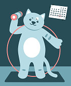 Cute happy cat goes in for sports. Sports Equipment. Flat vector illustration.