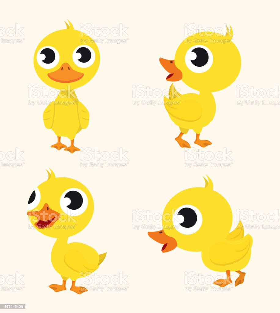 Cute Happy  character Duck set vector art illustration