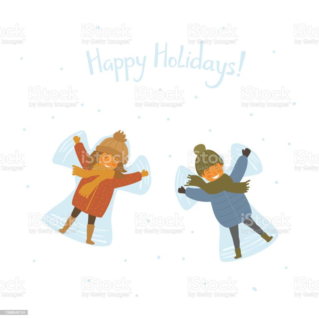 cute happy children making snow angel, isolated cartoon vector...