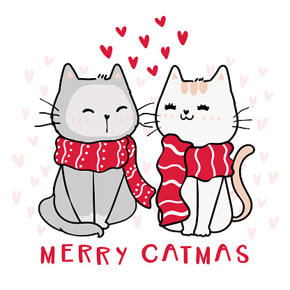 cute happy couple cat in red Christmas winter scarf, Merry catmas with heart in background, idea for greeting card, nursery wall art, print