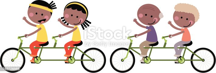 istock Cute Happy Couple Family Cycling Tandem Bicycle 165726568