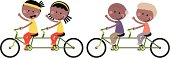 Vector illustration – Happy Couple Family Cycling Tandem Bicycle.