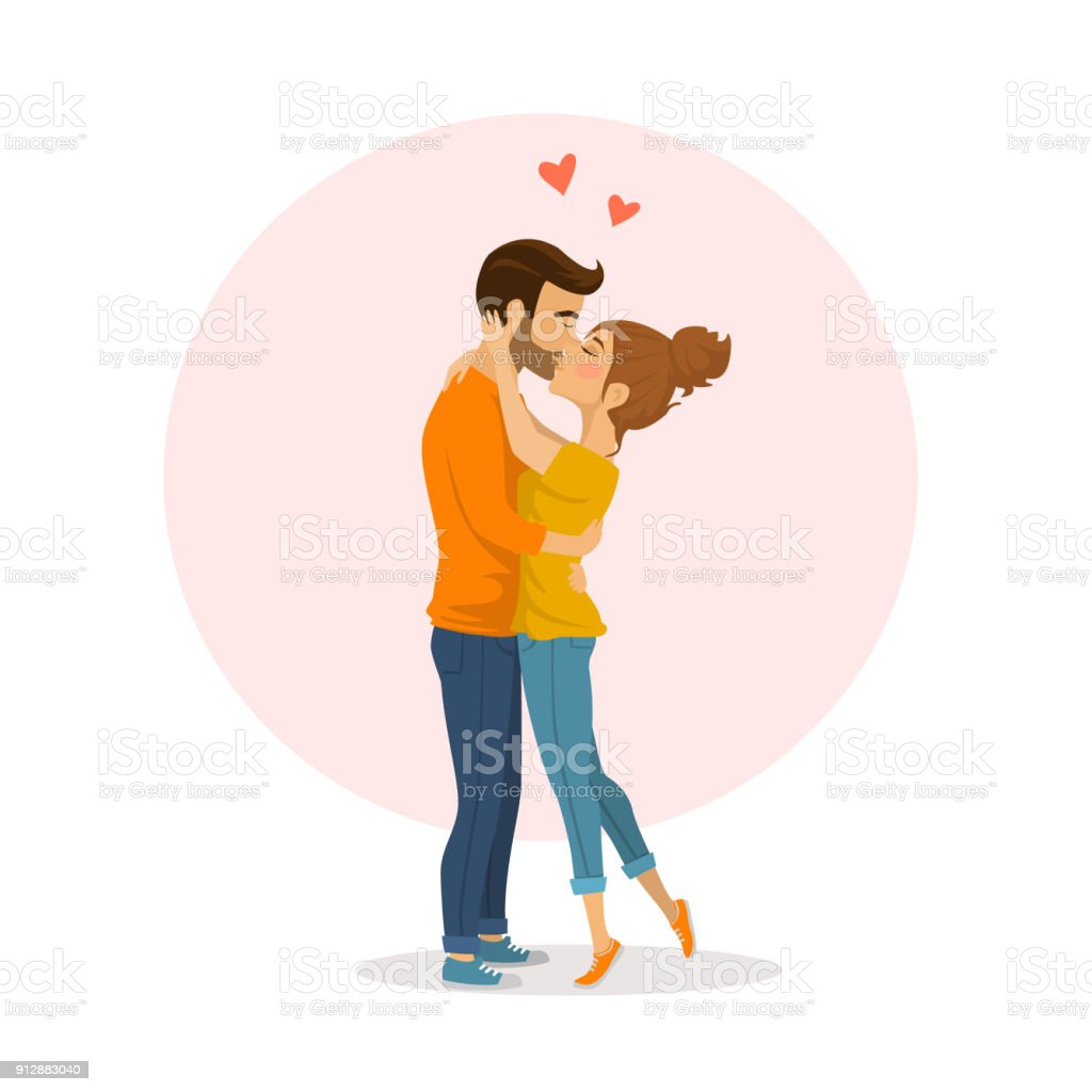 恋抱き合ったりキスしたりかわいい幸せなカップル - イラストレーション