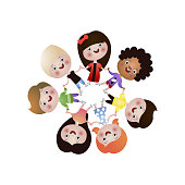 Cute, happy different nation kids dance in round, global peace. Cartoon style. Vector illustration on white background