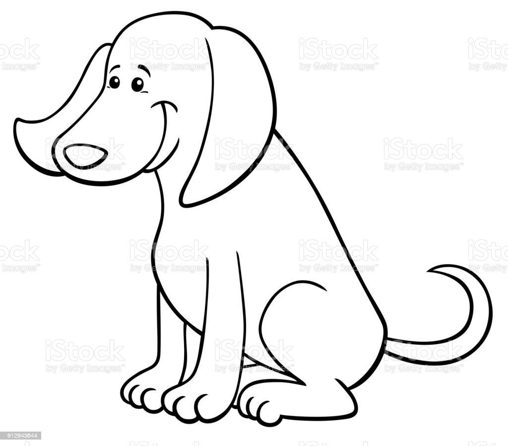 幸せな犬がかわいいキャラクターの塗り絵 お絵かきのベクターアート