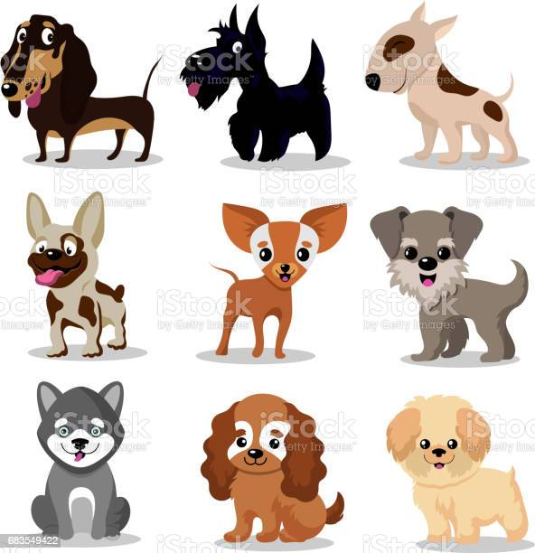 Cute happy dogs cartoon funny puppies vector characters collection vector id683549422?b=1&k=6&m=683549422&s=612x612&h=fk4sj0m3y zfvvkne4xepdi7gve4lfb49bo8hs0vqfm=