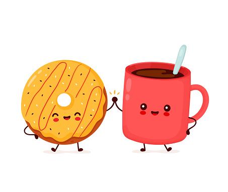Cute happy donut and coffee mug character