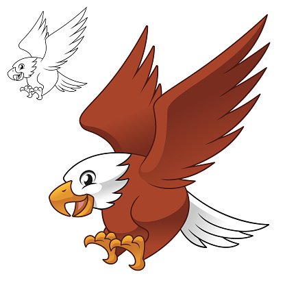 Cute Happy Eagle Falcon Hawk Flying Ready Pounce Prey with Line Art Drawing