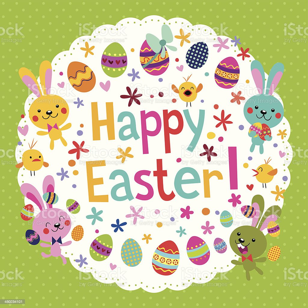 cute Happy Easter card royalty-free cute happy easter card stock vector art & more images of animal