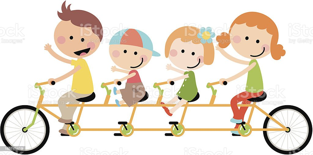 Cute Happy Family Cycling Tandem Bicycle royalty-free stock vector art
