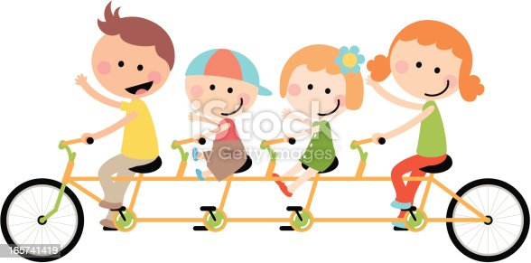 istock Cute Happy Family Cycling Tandem Bicycle 165741419