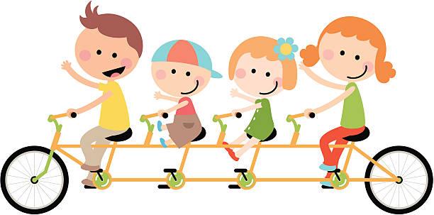 hübsch glückliche familie radfahren tandem - lustige fahrrad stock-grafiken, -clipart, -cartoons und -symbole