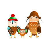 Cute happy family of wild owl in winter headwear, ready for holidays. Cartoon style. Vector illustration on white background
