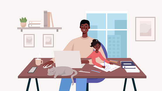 Cute happy father sits with a baby and works at a laptop. Home office. Man freelancer, remote work and raising a child at workplace. Family together with cat on table Flat cartoon vector illustration.