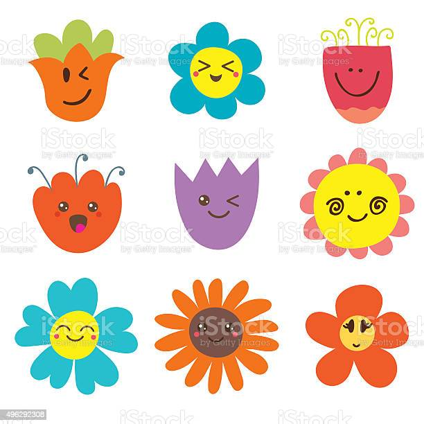 Cute happy flowers funny flowers collection vector id496292308?b=1&k=6&m=496292308&s=612x612&h=xc7y2ogickv0f1ysj8gm0eq9y7fyspfwztgc6xiu oq=