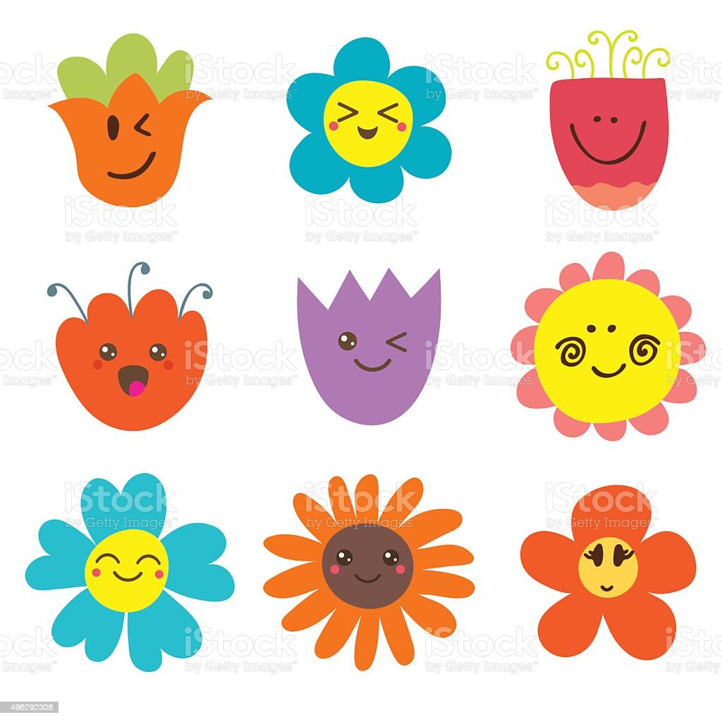 Cute happy flowers. Funny flowers collection vector art illustration