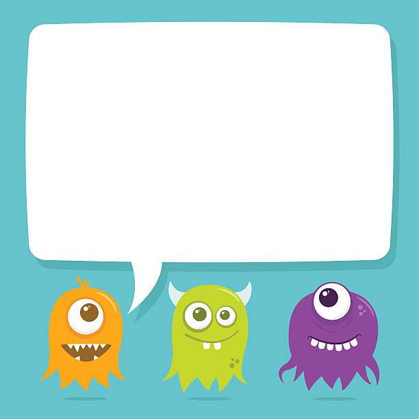 Cute Happy Flying Aliens, Blank Speech Bubble vector art illustration