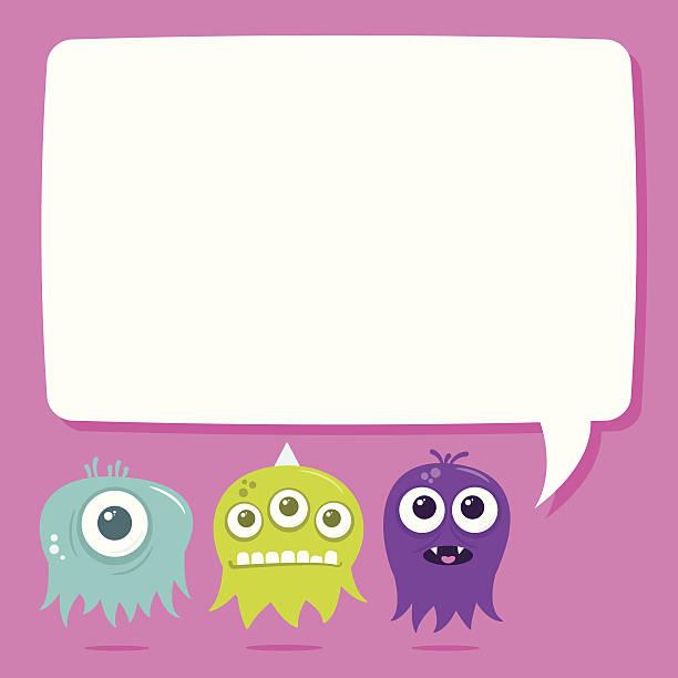 Cute Happy Flying Aliens, Blank Text Bubble vector art illustration