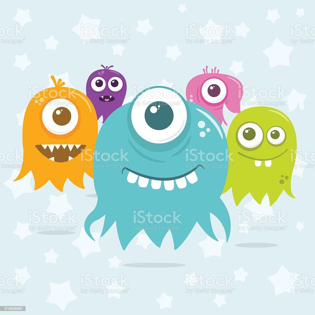 Cute Happy Flying Aliens Invading Scene vector art illustration