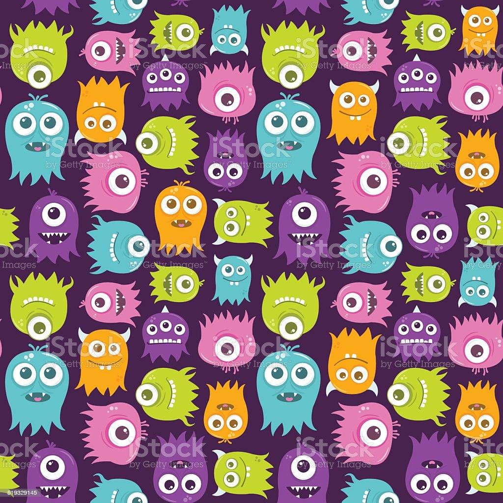 Cute Happy Flying Aliens Seamless Pattern vector art illustration
