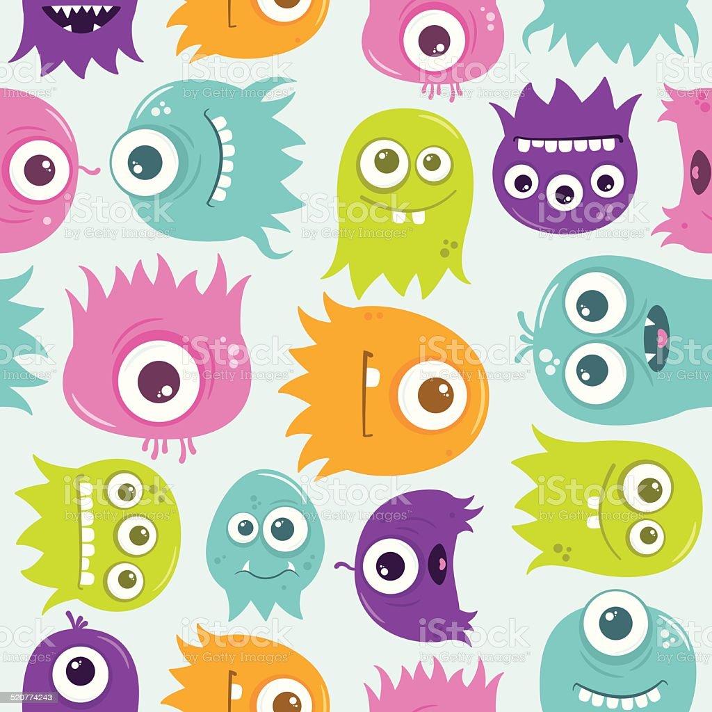Cute Happy Flying Aliens Seamless Tile vector art illustration