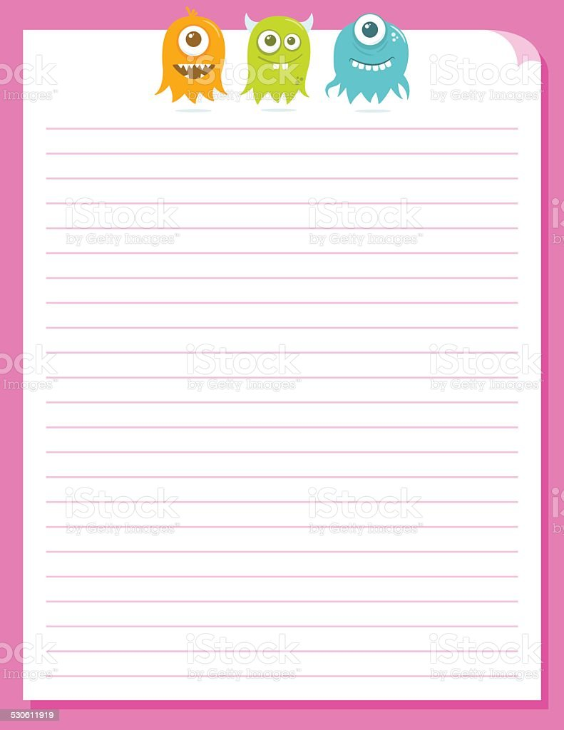 Cute Happy Flying Aliens, Stationery Template vector art illustration