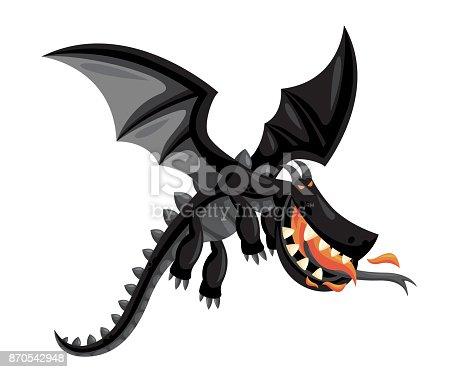 Cute Happy Flying Black Dragon Illustration