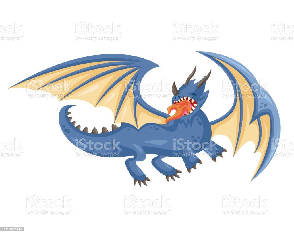 かわいいハッピー フライング ブルー ドラゴン イラスト おとぎ話の