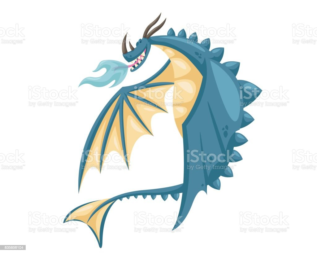 Cute Happy Flying Dragon Illustration vector art illustration
