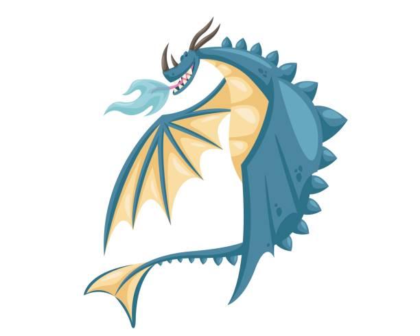 cute happy flying dragon illustration - dragon stock illustrations, clip art, cartoons, & icons