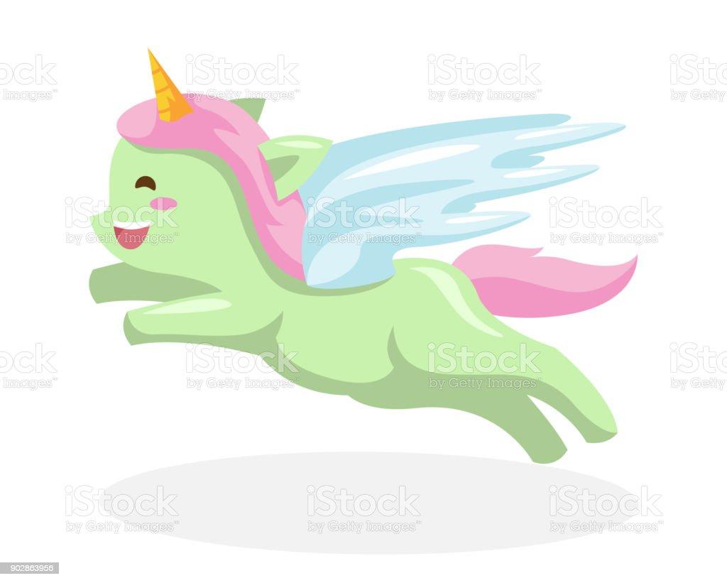 flying heureux mignon green illustration de cheval poney licorne flying heureux mignon green illustration de cheval - Poney Licorne