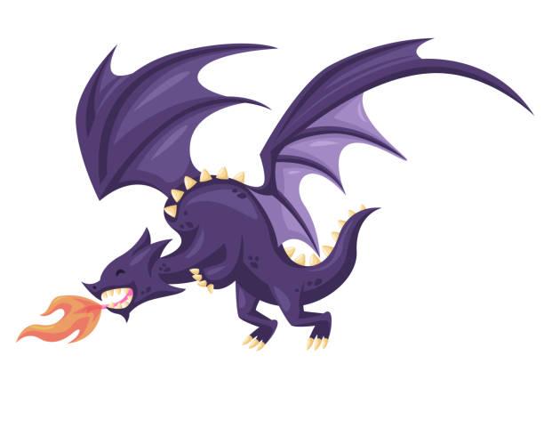 niedliche glücklich fliegen lila drache illustration - geistergeschichten stock-grafiken, -clipart, -cartoons und -symbole