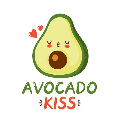 Cute happy funny avocado and hearts