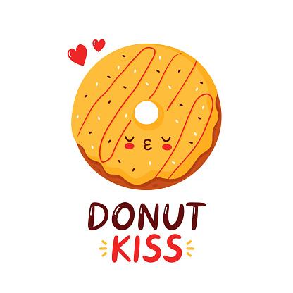 Cute happy funny donut. Vector cartoon
