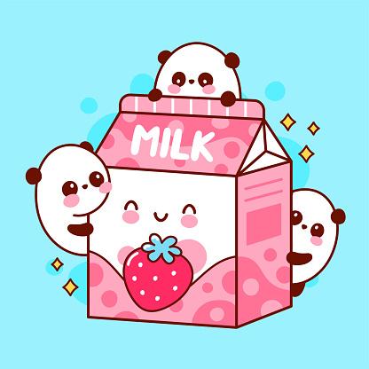 Cute happy funny flavored strawberry milk