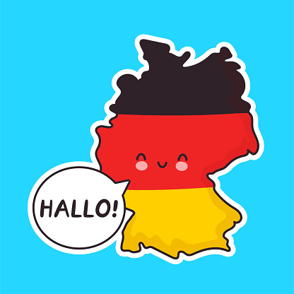 Cute happy funny Germany map and flag character