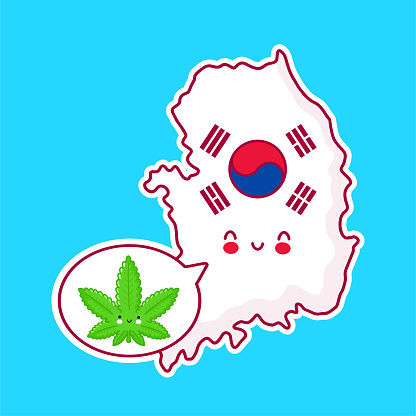 Cute happy funny South Korea map and flag