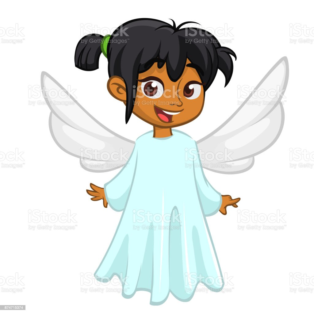 Cute happy girl afro-american girl angel character with white wings flying. Vector illustration isolated vector art illustration