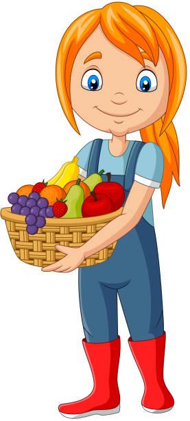süße glücklich mädchen ernte obst - kinderstiefel stock-grafiken, -clipart, -cartoons und -symbole