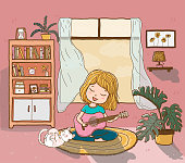 cute happy girl plays guitar on rug with a playful fluffy cat in sun lighted living room, outline doodle drawing flat vector