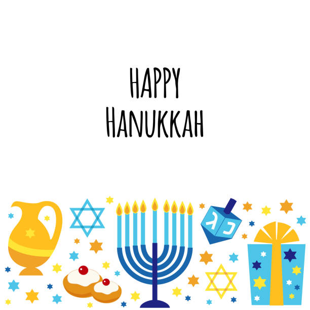 ilustraciones, imágenes clip art, dibujos animados e iconos de stock de lindo feliz hanukkah, festival de luces de fondo en estilo plano - jánuca