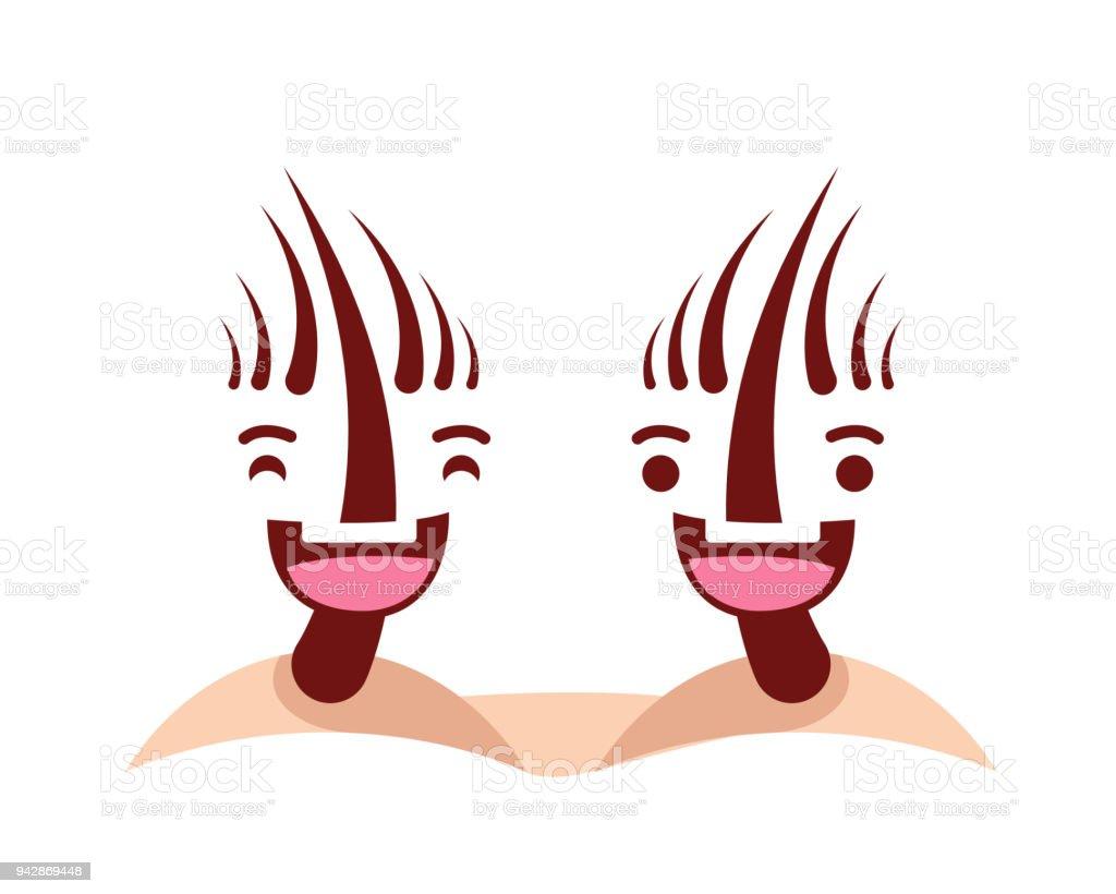 Cute Happy Healthy Hair Cartoon Character Illustration Stock Vector ...